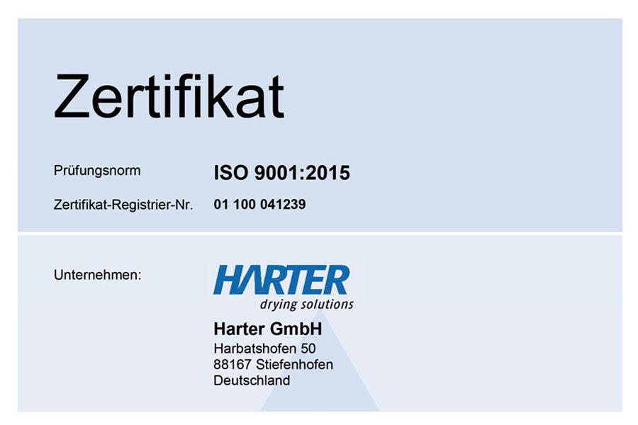 HARTER ist weiterhin ISO 9001:2015 zertifiziert